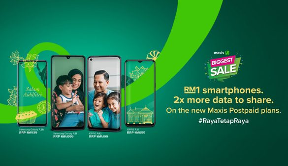 Maxis Biggest Sale offers the Latest Devices for only RM1 and Postpaid Plans with up to 100GB data